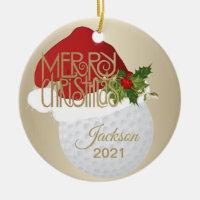 Christmas Golf Ball Ceramic Ornament