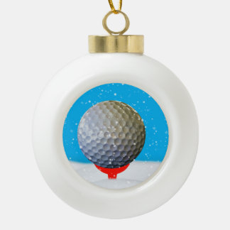 Christmas Golf Ball in the Snow Ceramic Ball Christmas Ornament