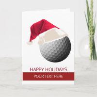 Christmas golf Ball Santa Hat Greeting Cards