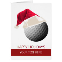 Christmas golf Ball Santa Hat Greeting Cards