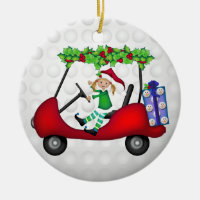 Christmas Golf Cart with Elf 1 Ceramic Ornament