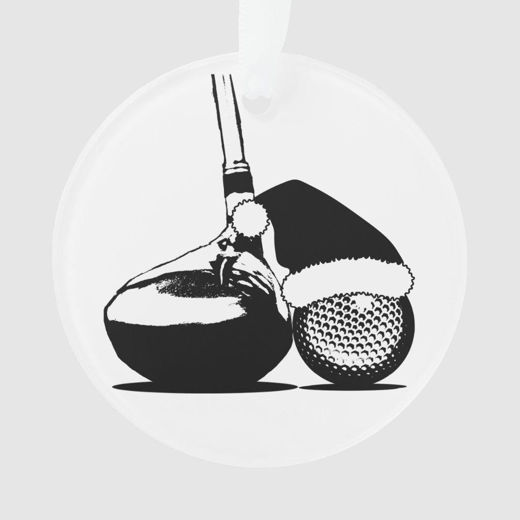 Christmas Golf Club and Ball Ornament