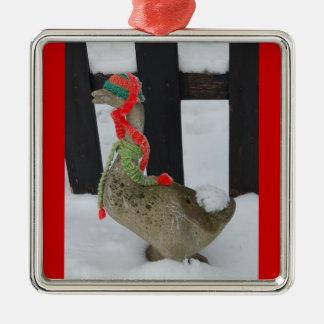 Christmas Goose Square Metal Christmas Ornament