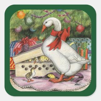 Christmas Goose Square Sticker