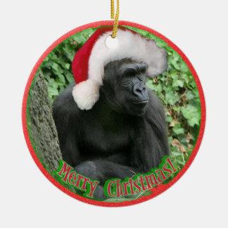 Christmas Gorilla Ceramic Ornament