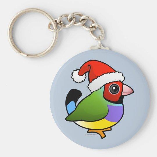 Christmas Gouldian Finch Keychain
