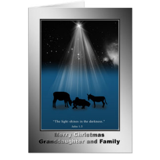 Christmas, Granddaughter and Family, Religious Greeting Card