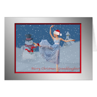 Christmas, Granddaughter, Ballerina in Snow Greeting Card