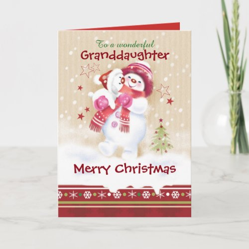 Christmas Granddaughter Snow Child hugs Snow Pup Holiday Card