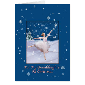 Christmas, Granddaughter, Snow Queen Ballerina Greeting Cards
