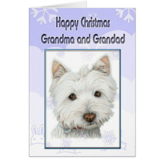 Christmas Grandma card with cute westie dog