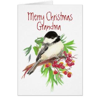 Christmas, Grandma-Chickadee Bird, Nature,Garden Greeting Card