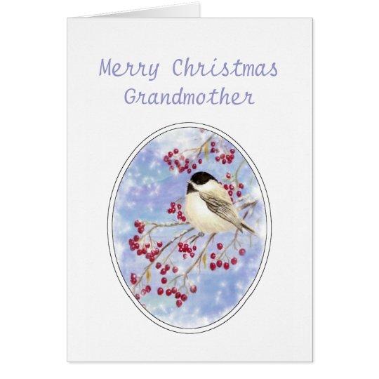 Christmas Grandmother Bird Berry Frosty Window Card
