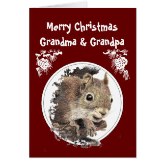 Christmas Grandparents, Grandkids, Humor Squirrel Card