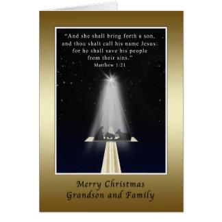 Christmas, Grandson and Family,  Religious Card
