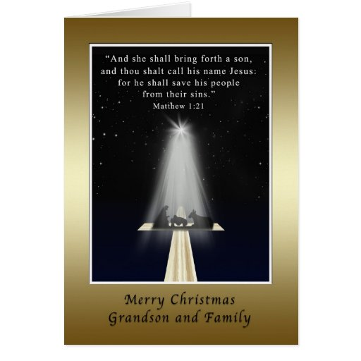 Christmas, Grandson and Family,  Religious Greeting Card