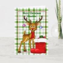 CHRISTMAS - GRANDSON - REINDEER HOLIDAY CARD