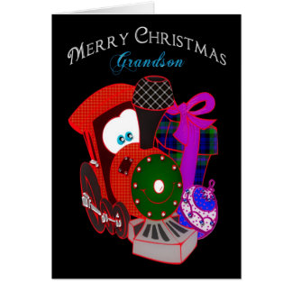Christmas - Grandson - Train with gifts Card