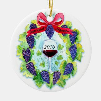 Christmas Grape Wreath Custom Scott Patrick Homes Ceramic Ornament
