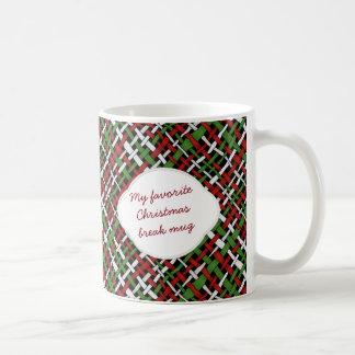 Christmas Graphical Woven Burlap Pattern Text Coffee Mug