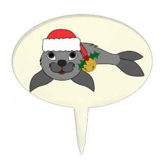 Christmas Gray Seal with Santa Hat & Gold Bell Cake Topper