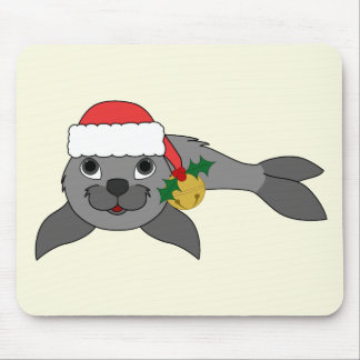 Christmas Gray Seal with Santa Hat & Gold Bell Mouse Pad