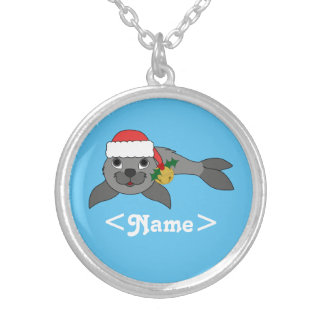Christmas Gray Seal with Santa Hat & Gold Bell Round Pendant Necklace