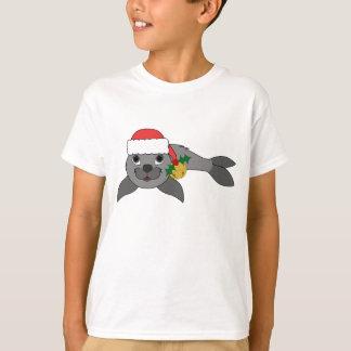Christmas Gray Seal with Santa Hat & Gold Bell T-Shirt