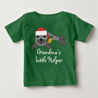 Christmas Gray Seal with Santa Hat & Gold Bell Tee Shirt