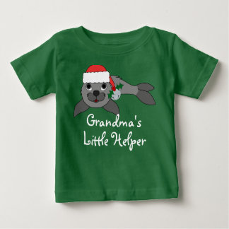Christmas Gray Seal with Santa Hat & Silver Bell Infant T-shirt
