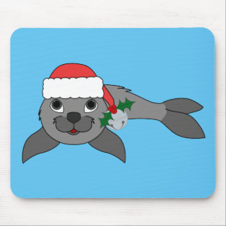 Christmas Gray Seal with Santa Hat & Silver Bell Mouse Pad