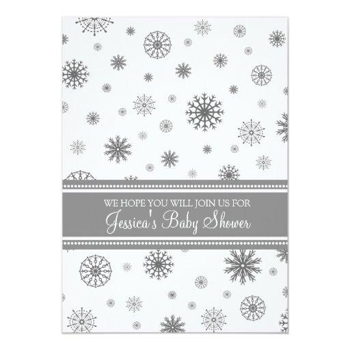 Christmas Gray Snowflake Custom Baby Shower 5x7 Paper Invitation Card