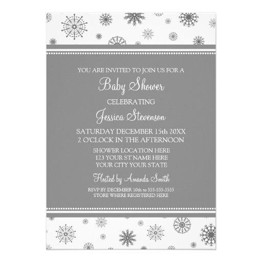 Christmas Gray Snowflake Custom Baby Shower Custom Announcements