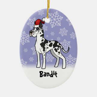 Christmas Great Dane(add your pets name) Ceramic Ornament