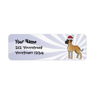 Christmas Great Dane Label