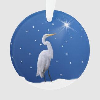 Christmas, Great Egret Bird, Star, Religious Ornament