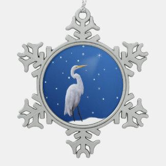Christmas, Great Egret, Star Snowflake Pewter Christmas Ornament
