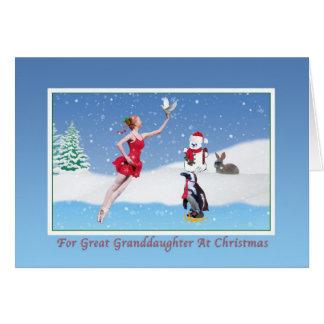 Christmas, Great Granddaughter, Ballerina, Snow Card