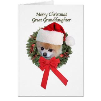 Christmas, Great Granddaughter, Pomeranian Card