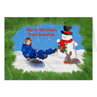 Christmas, Great Grandson, Boy on Sled, Snowman Cards