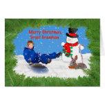 Christmas, Great Grandson, Boy on Sled, Snowman Greeting Card