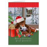 Christmas, Great Grandson, Cat, Teddy Bear, Card