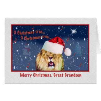 Christmas, Great Grandson, Lion in Santa Hat Card