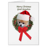 Christmas, Great Grandson, Pomeranian Dog Card