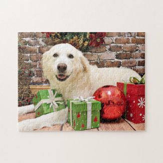 Christmas - Great Pyrenees Labrador X - Ginny Jigsaw Puzzle