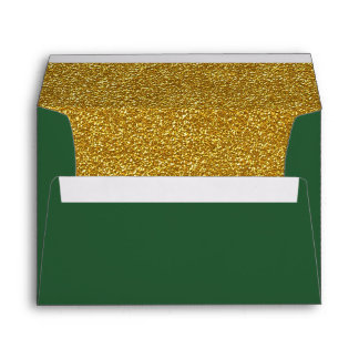 Christmas Green and Gold Custom Envelope