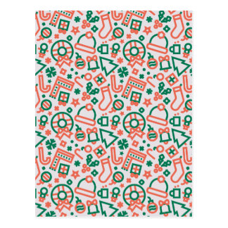 Christmas Green and Red Icons Pattern Postcard