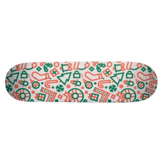 Christmas Green and Red Icons Pattern Skateboard