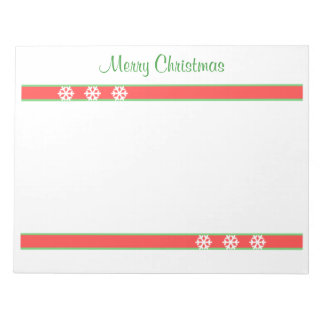 Christmas Green and Red Stripes and Snowflakes Note Pad