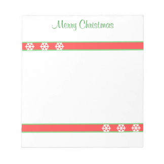 Christmas Green and Red Stripes and Snowflakes Notepad
